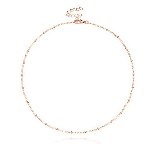 zwyjd ZWSHAN Einfache Kupfer Perlenkette Damen Kurze Schlüsselbein Halskette Minimalismus Vintage Elegante Kette Choker Schmuck Geschenk für Frauen Mädchen,Gold