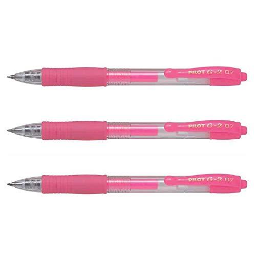 Pilot - Lote de 3 bolígrafos de tinta de gel G2 07 neón, rosa neón