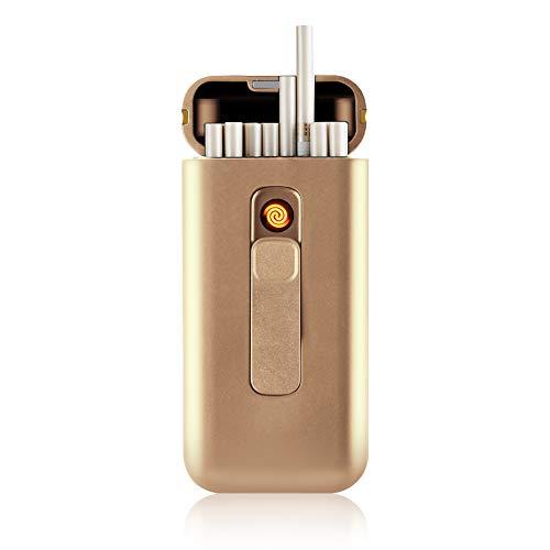 SANSH - Pitillera con encendedor eléctrico, portátil, caben 20cigarrillos finos largos, encendedor...