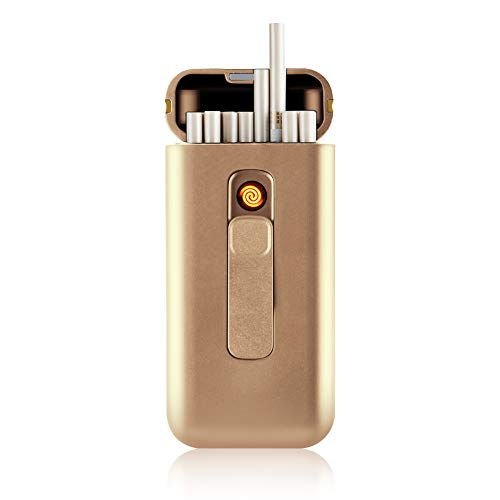 SunTime Cigarette Case with Lighter Cigarettes Box Portable 20pcs 100's Slim Cigarettes USB Lighters 2 in 1 Rechargeable Flameless Windproof Electric Lighter (Rose Gold)