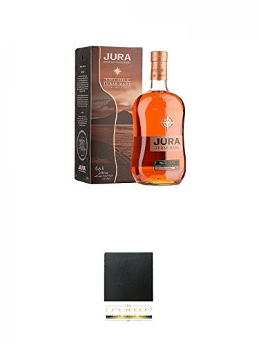 Isle of Jura TURAS MARA Single Malt Whisky 1,0 Liter + Schiefer Glasuntersetzer eckig ca. 9,5 cm Durchmesser