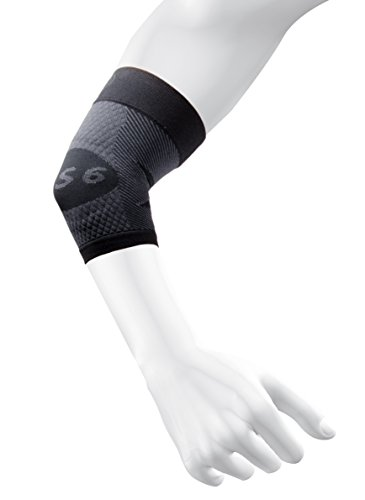 OS1st ES6 Elbow Compression Bracing Sleeve (One Sleeve) relieves Tennis or Golfers Elbow, Cubital Tunnel Syndrome, Supports Damaged tendons & Controls Forearm Pain (Black, Large)