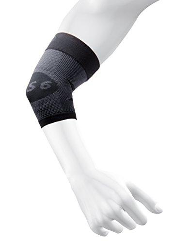 OS1st ES6 Ellenbogen-Kompressionsbandage (eine Hülle) lindert Tennis- oder Golferellenbogen, Kubitaltunnelsyndrom, unterstützt beschädigte Sehnen und kontrolliert Unterarmschmerzen, schwarz, Medium