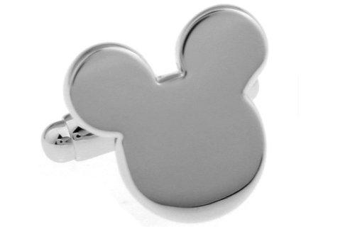 Boutons de manchette Disney Mickey Mouse en argent poli avec coffret