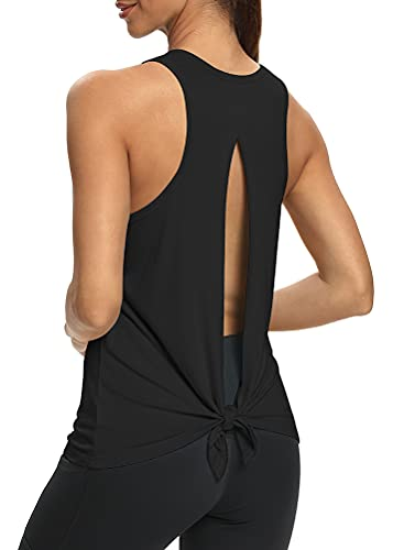 Mippo Womens Yoga Workout Tank Tops Sexy Open Back Activewear Backless Running Workout Shirts Knotted Back T Shirt Muscle Tee Racerback Tank Top Fitness Exercise Tops Sports Gym Clothes Black XL