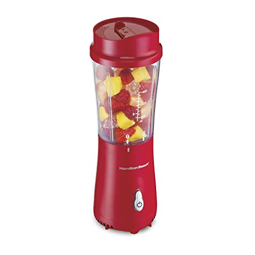 Hamilton Beach Personal Blender for Shakes and Smoothies with 14oz Travel Cup and Lid, Red (51101RV)