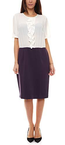 Ashley Brooke Kleid Etui-Kleid schönes Damen Ausgeh-Kleid Business-Kleid Mini-Kleid im Two-in-One Look Weiß/Lila, Größe:42