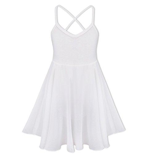 TiaoBug Girls Spaghetti Chiffon Ballet Dance Dress Empire Waist Gymnastics Leotard Overlay Lyrical Ballerina Costume (8-10, White)