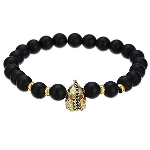 Rey corona encanto pulsera hecho a mano estiramiento hombres 8 mm cuentas de cobre mujeres pulsera brazalete joyería, BA, 013G, tamaño L 20,21cm
