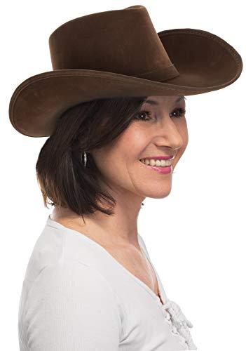 Brandsseller - Cowboyhut Damen Westernhut Cowgirl Kopfbedeckung - Karneval Fashing Kostüm Accessoire - Farbe: Braun