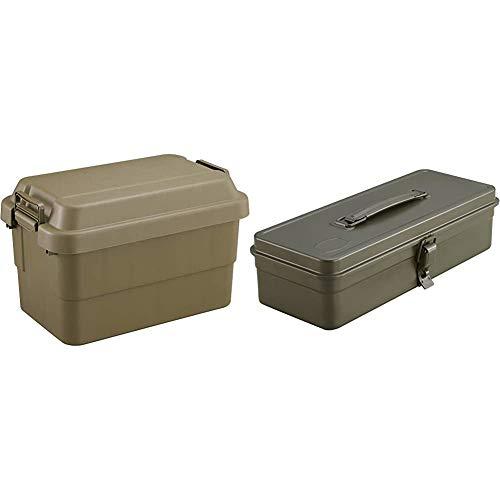 TRUSCO Trunk Cargo 11.2 gal (50 L) OD Color ODC-50 & Trunk Type Tool Box 333X137X96.5 OD Color T-320-OD [Buy Set]