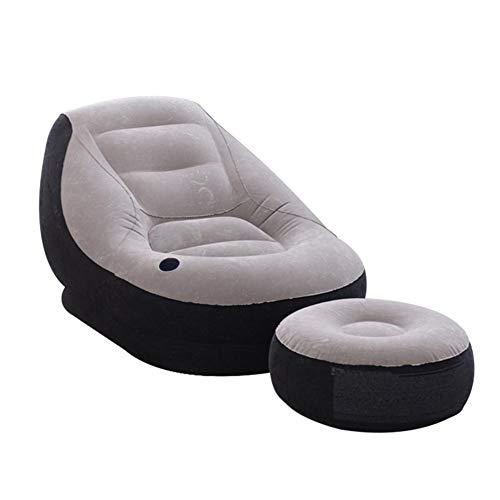 xlcukx - Sillón hinchable, ligero, hinchable, sillón de salón con otomano, portátil y hinchable para salón de jardín
