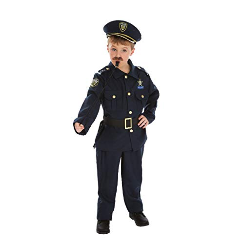 Déguisement policier enfant qualité supérieure, Bleu Marine, 3 à 4 ans