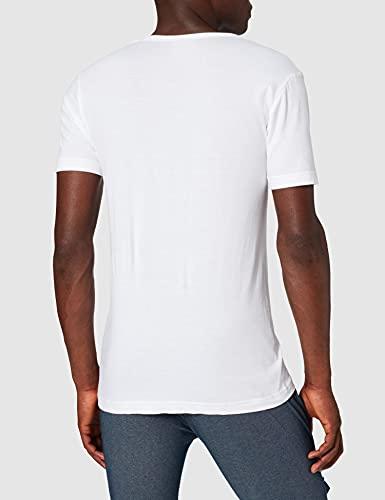 ABANDERADO Camiseta de algodón Manga Corta Cuello Pico, Blanco, XL para Hombre