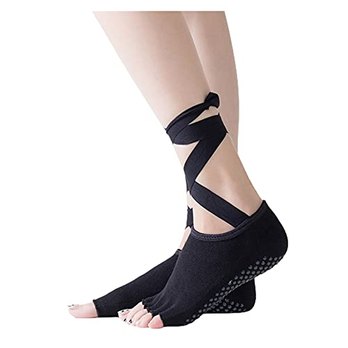 RHoet 1 par Mujeres Yoga Calcetines algodón Cruz Correas Calcetines Transpirable Antideslizante Ballet Fitness Pilates 4 Estaciones Calcetines Deportivos (Color : Black)