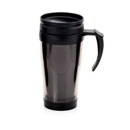 Mug à Couvercle avec doseur de sécurité - Tasse à Café écologique réutilisable, à Emporter avec Couvercle Couleur - Noir