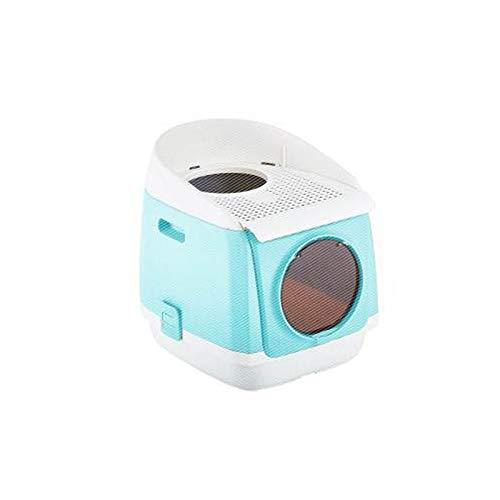 Wcx kattenbak, dubbele deur zandbak voor antibacteriële deodorisatie, gemakkelijk schoon te maken kat wc thuis vuilnisbak, Blauw