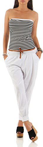 malito dames onesie gestreept | Overall met riem | Jumpsuit in Marine Look - Playsuit - Romper 9610
