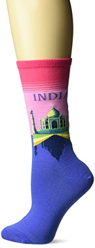 Hot Sox Women's Travel Series Novelty Fashion Crew, India (Hot Pink), Shoe Size: 4-10