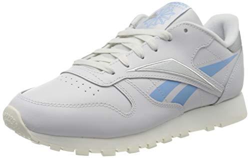 Reebok womens CL LTHR Gymnastics Shoe, Porcelain/Fluid Blue/Silver Met, 39 EU