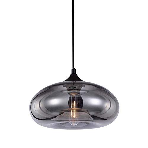 HJXDtech Pendellampe aus Glas, Industrielle Überzug Graue Pendelleuchte, Retro Deckenleuchte Hängelampe für Esszimmer Kücheninsel Schlafzimmer und Wohnzimmer (A-03)