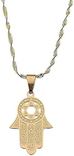 Collar de hexagrama de acero inoxidable Collar colgante hecho a mano Collar Magen Color dorado Islam Árabe Judío Estrella Collar de joyería en forma de palma Cadena colgante para mujeres Hombres Colla