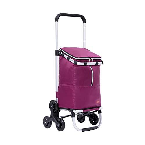 IPOUJ Escalera Plegable de aleación de Aluminio Carrito de Compras Trolley Telescópico Telescópico Carro de Compras Portátil Pequeño Carro, para Compras Oficina Lavandería Purple