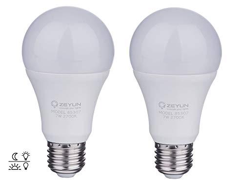 ZEYUN el atardecer hasta el amanecer Bombilla LED, E27 blanca cálida de 12W con sensor de luz diurna Lámpara de ENCENDIDO / APAGADO automático, 2 paquetes (12)