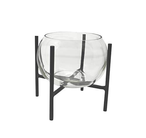 LaLe Living Vase Arzu aus Glas & Eisen in Schwarz, Blumenvase 18 x 23 cm, Glasvase mit Gestell aus Metall