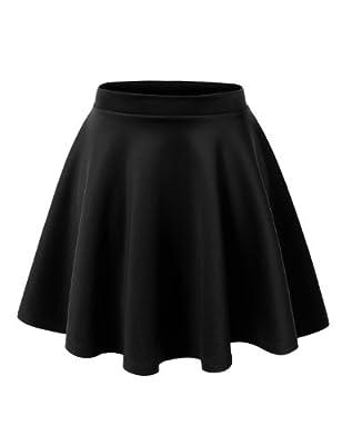 MBJ WB211 Womens Basic Versatile Stretchy Flared Skater Skirt M Black