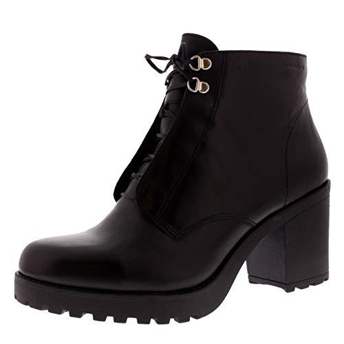 Dames Vagabond Grace Zwart leer mode werk blokhak enkellaarsjes - Zwart - 7
