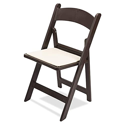 EventStable Titan PRO Resin Folding Chair - Dark Brown Indoor/Outdoor Lightweight Folding Chair - Vinyl Padded Folding Chair for Weddings Parties Events - 4 Pack