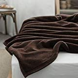 AKIN TOWEL Soft Fluffy Warm Solid Faux Mink Fur Double Size Blankets A/C Quilts, 190X229 cm , Brown