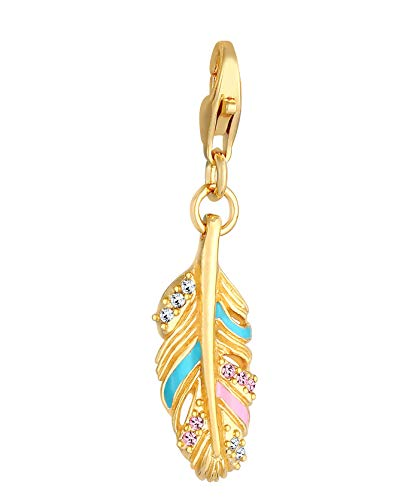 Feather Charm Pendant 925 Sterling Silver Gold-Plated for Women and Girls, Golden Angel Feather Symbol with Swarovski Crystals, Charms Pendant Fits All Standard Charm Bracelets and Charm Bracelet