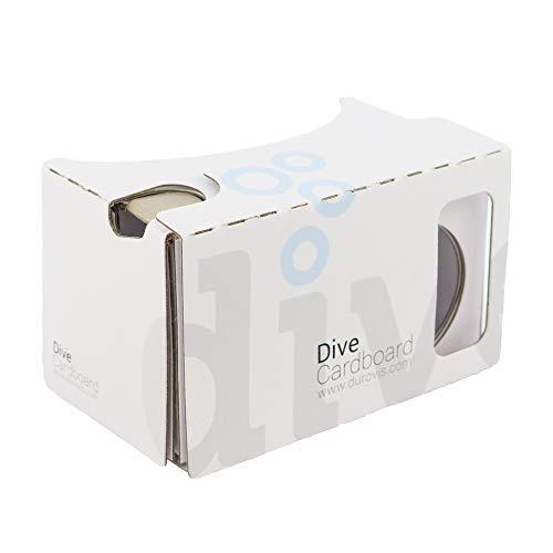 Durovis Dive Cardboard 6 - weiß - Virtual Reality Headset Inspired by Google Cardboard V2 - für 3D-Games, Filme, Videos, Apps aus Play- und iTunes-Store - für Android & iOS Smartphones bis zu 6 Zoll
