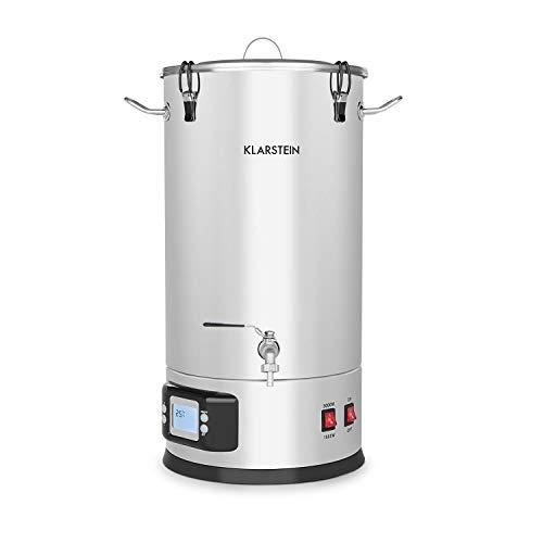Klarstein Maischfest caldera - Olla para producir cerveza, Lote de 5 piezas, Cubo para filtrar, Espiral refrigerante, Pantalla LCD, Grifo, Acero 304, 2 niveles: 1500/3000 W, 30 litros, Gris