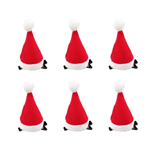 Amosfun 6pcs Pince à Cheveux de Noël Mignonne Santa Hat décoration Pince à Cheveux Barrette Pince à Cheveux Rouge