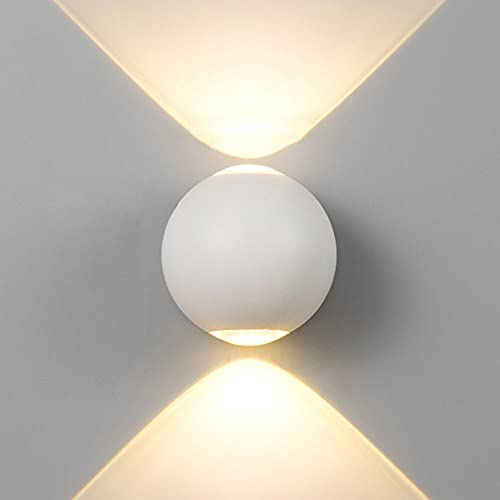 FMGR Aplique Pared Interior LED Lámpara De Pared Moderna para Salon Dormitorio Sala Pasillo Escalera,6W, Luz Redonda, Luz Blanca Cálida,Blanco