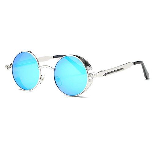 AEVOGUE Polarized Sunglasses Steampunk Round Lens Metal Frame Unisex Glasses AE0519 (Sliver&Blue, 49)