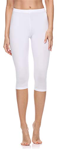 Merry Style Leggings 3/4 Pantaloni Capri Donna MS10-199 (Bianco, S)
