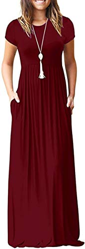 I2crazy Boho Summer Dresses for Women Loose Plain Casual Short Sleeve Long Maxi Dresses with Pockets Beach Cover Up-XL,Wine Red
