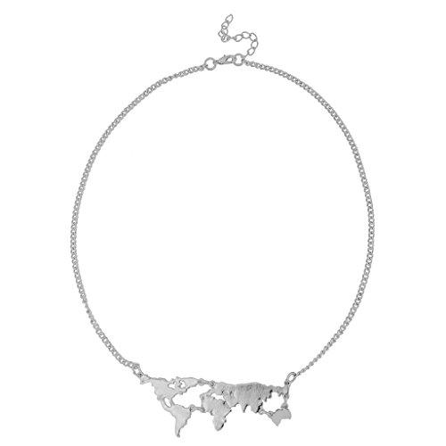 Mujeres Mapa del mundo de viaje abstracto colgante collar partido prom