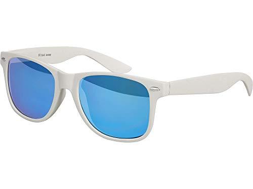 Balinco Hochwertige Nerd Sonnenbrille Rubber im Retro Stil Vintage Unisex Brille mit Federscharnier - 96 verschiedene Farben/Modelle wählbar (Hellgrau - Blau verspiegelt)