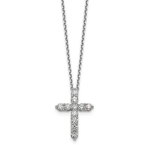 Collar con colgante de cruz religiosa de oro blanco de 16 mm de 14 quilates con cadena de joyas para mujeres