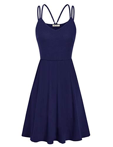 Moyabo Women's Summer Casual T Shirt Dresses V Neck Sleeveless Double Spaghetti Strap Casual Sundress Navy Blue Medium