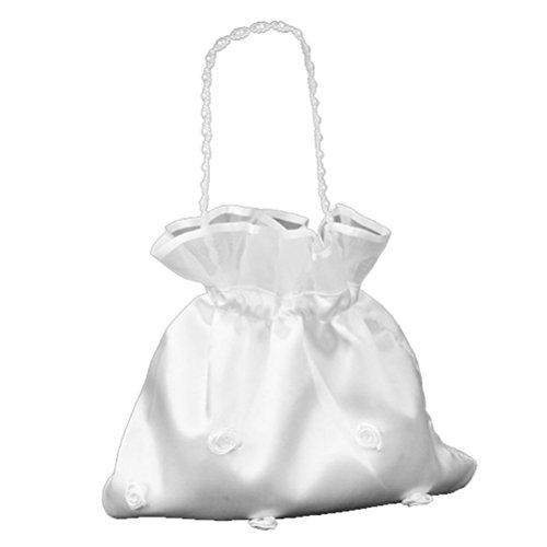LUOEM Bolsa de dinero nupcial de la boda del satén Flor de satén nupcial de la dama de honor bolso decorado del bolso con la perla para el favor nupcial de la boda del monedero de la danza del dólar