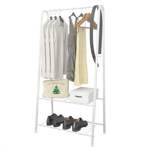UDEAR Percheros, Organizador portátil Simple, Estante de Almacenamiento de 2 Niveles, Ropa y Zapatos para la Sala de Estar y el Dormitorio,Blanco