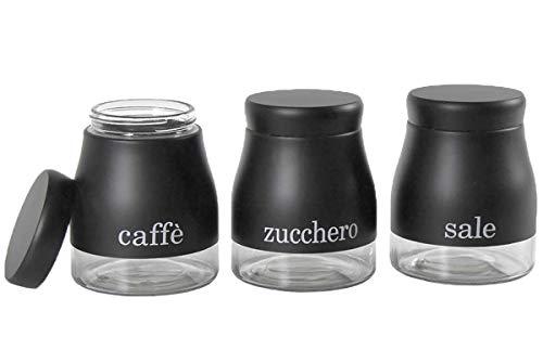 BuyStar Set da 3 barattoli Porta Sale Zucchero caffè in Vetro Colore Nero Tris barattoli da Cucina | Stile Moderno
