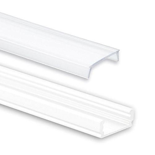 Profi LED Profil für LED Stripes - Serie Aufbauprofil Mini 12 weiss (Alu-Profil 2M Aluminium Aufbauprofil Mini 12 weiss mit flacher milchiger Abdeckung); LED Band, LED Stripe, LED Strip