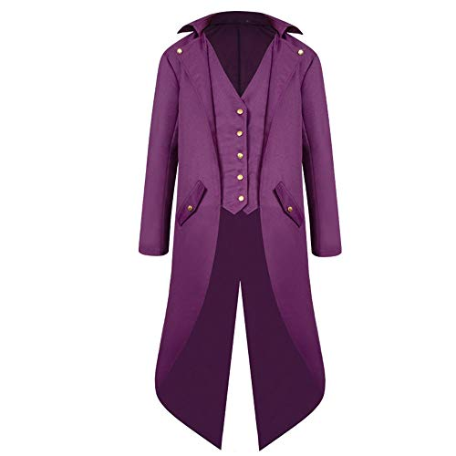 PPPPA Long Jacket Coat Men's Long Sleeve Steampunk Retro Medieval Tailcoat Outwear Mens Buttons Down Gothic Halloween Uniform Costume Cosplay Sweatshirt Pullover Cardigan Coat Purple